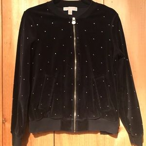 Michael Kors Rhinestone Studded Velour Jacket